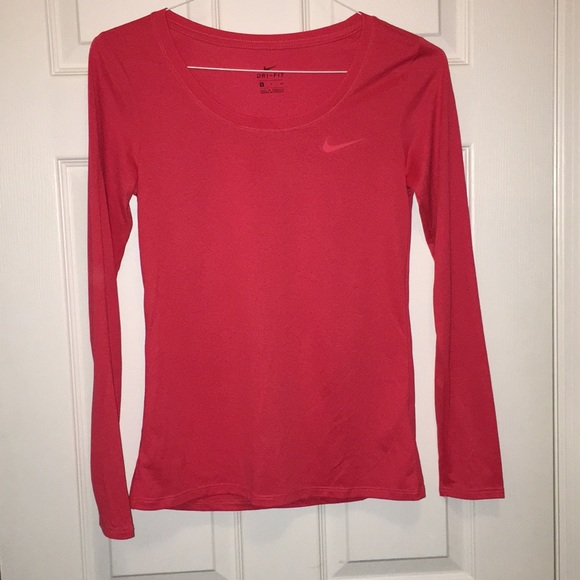 Nike Tops - Nike Dri Fit long sleeved shirt orange red Small